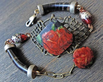 "Rose bracelet- handmade recycled antique assemblage in red and black- ""Haemal"""