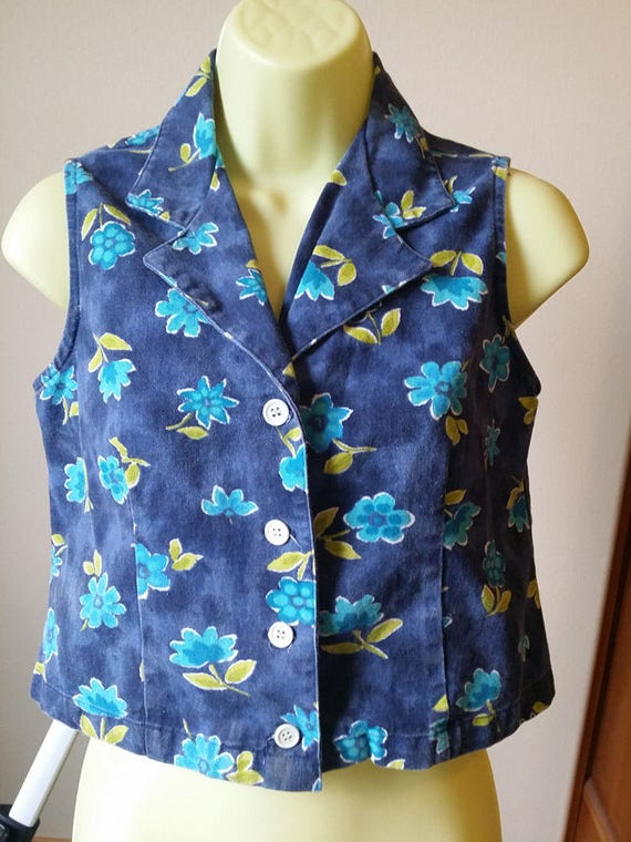 WOMENS JEAN VEST Yellow blue floral top sleeveless flower shirt size Small clothes