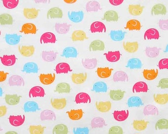 Baby White Elephant Cotton Fabric by Rose & Hubble, Child's Coloured Elephants on White Cotton Fabric