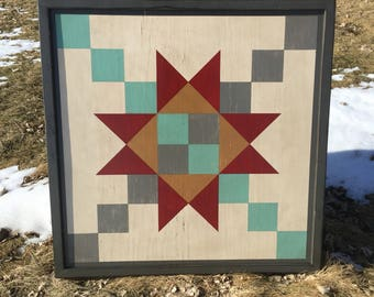 PRiMiTiVe Hand-Painted Barn Quilt - 3' x 3' Chained Star Pattern