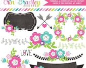 80% OFF SALE Floral Elements Clipart Graphics Laurel Wreath Banner Flowers Labels & More Great For Wedding and Save the Date Designs