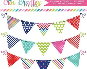 80% OFF SALE Instant Download Bunting Clipart Graphics Red Green Blue & Pink Polka Dots Stripes and Chevron Personal Commercial Use