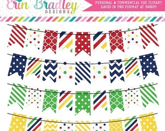 80% OFF SALE Bunting Clipart Red Blue Green & Yellow Polka Dots and Stripes Commercial Use