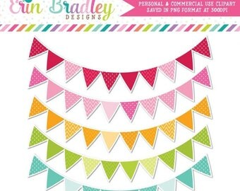 80% OFF SALE Colorful Pennant Banner Flags Clipart Commercial Use Clip Art Graphics