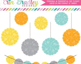 80% OFF SALE Pom Pom Garland Digital Clipart Graphics Commerical Use Party Poms Clip Art in Orange Yellow Gray Blue
