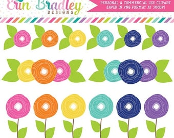 80% OFF SALE Instant Download Clipart Flower Doodles Colorful Floral Clip Art Graphics Personal & Commercial Use