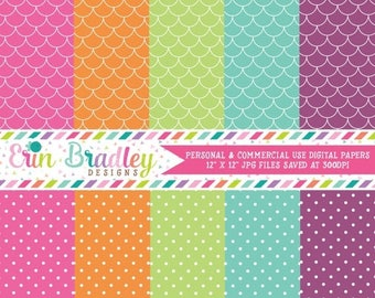 80% OFF SALE Digital Paper Pack Personal and Commercial Use Polka Dots and Scallops Scrapbooking Designs