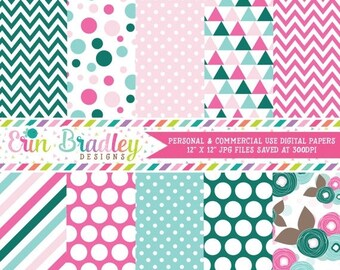 80% OFF SALE Commercial Use Digital Papers Pink Blue & Green Polka Dots Triangles Stripes and Flowers Printable Patterns