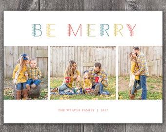 Botanical Be Merry - Digital or Printed Custom Christmas Holiday Photo Card