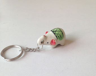 Miniature Elephant, ceramic elephant, ceramic animal, miniature animal, green elephant, mini, little, tiny, elephant figure, keychain
