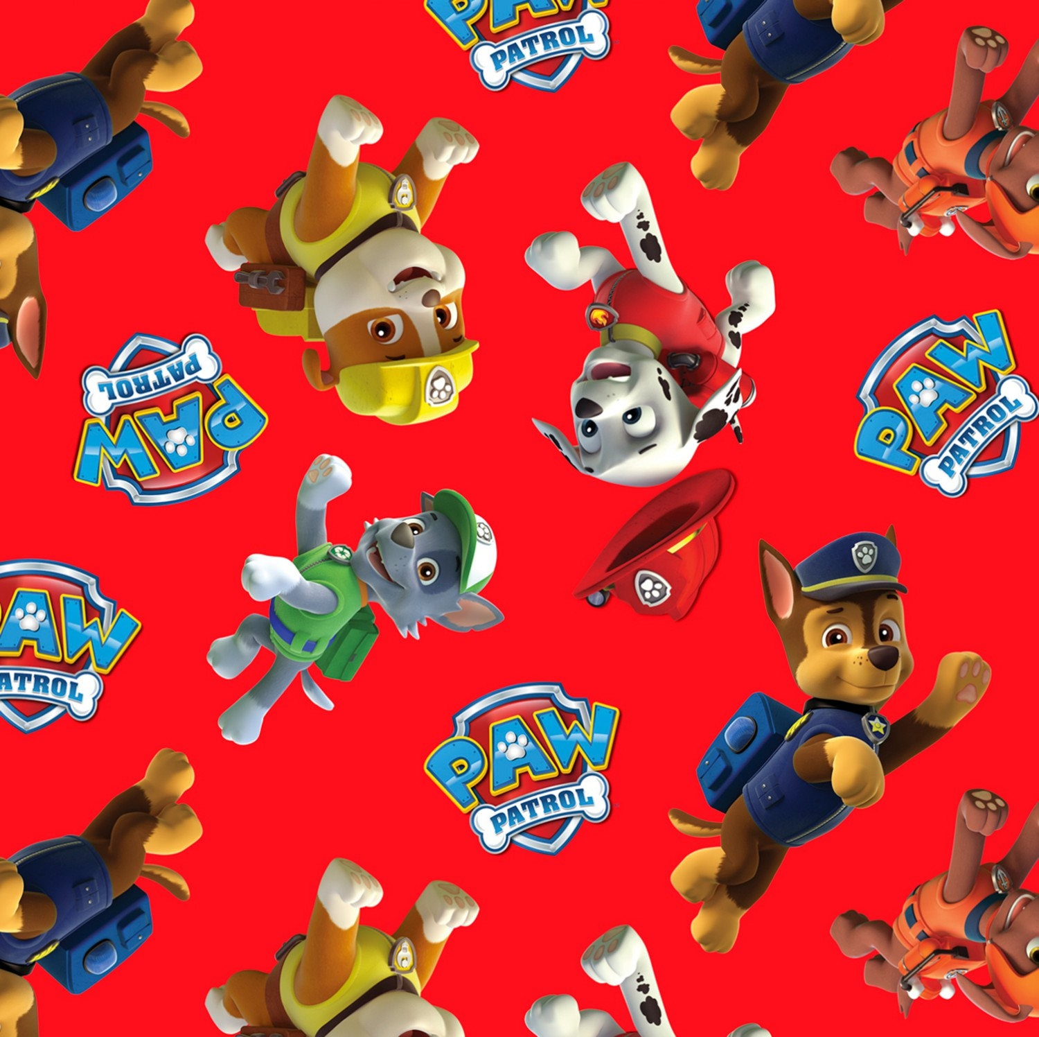 Children 39 s fabric paw patrol red multi tossed characters for Kids character fabric