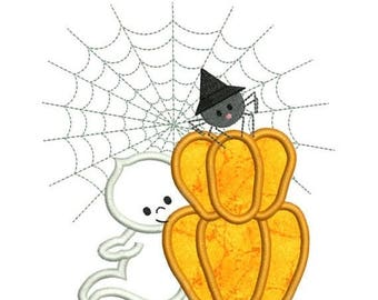 SALE 65% OFF Applique Halloween Ghost Pumpkin Spider Web Machine Embroidery Designs 4X4 and 5X7 Included - Instant Download Sale