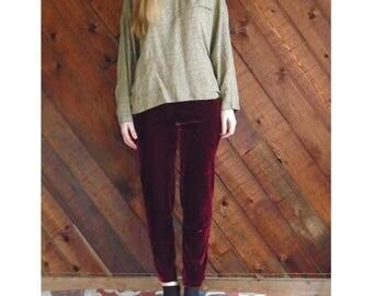 15% Memorial Day Wknd ... Cranberry Red Velvet Leggings Trousers Pants - Vintage 90s - S/M