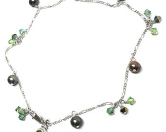 sterling silver chain peridot charm anklet crystal pearl