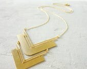 On Sale 40% off, Long Bauhaus Necklace, Geometric necklace, signature necklace, Architectural jewelry,