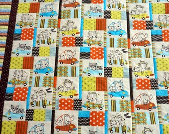 Baby, Toddler, Kids Quilt & Pillow Set With Alligators, Owls, Dogs, Cats and Monkeys Riding in Cars