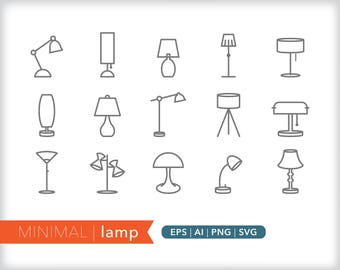 Minimal lamp line icons | EPS AI PNG | Geometric Light Clipart Design Elements Digital Download