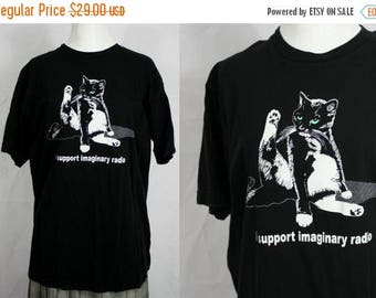 FLASH SALE I Support Imaginary Radio | Funny Cat Graphic Silkscreen Indie Hipster T-Shirt Unisex Large | Made in Usa