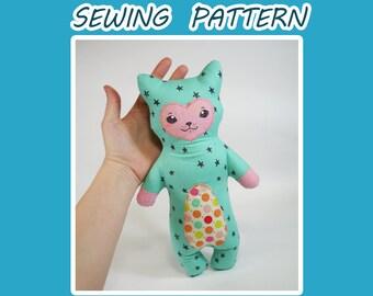 Plush Cat Sewing Pattern - Modern Cat - A cute and stylish kitty doll