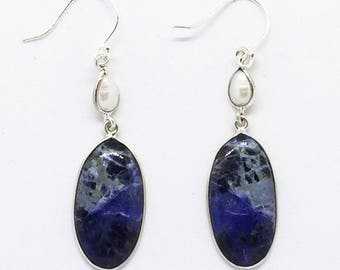 Sodalite and Pearl Sterling Silver Elongated Oval Dangle Earrings