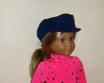 Blue Faux Suede, Newsboy Hat, 18 Inch Doll, 15 Inch Baby Doll, Biker Cap, American Made, Girl Doll Clothes