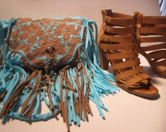 Bahama Blue Fringe Cross Body Bag