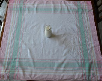 Vintage Tablecloth Minty and Pink on White
