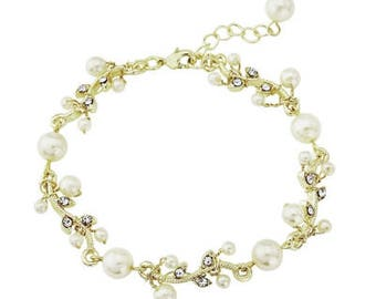 Gold pearl bridal bracelet vintage style crystal pearl cuff bracelet Downton Abbey, wedding jewellery
