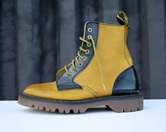 Doc Marten's Pale Yellow and Hunter Green High Top Leather Unisex Shoes