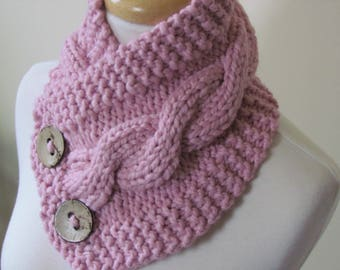 "Chunky Cable Neckwarmer Knit Thick Blossom Pink Scarf Wool Blend 6"" x 25"" - Cocconut Shell Buttons Ready to Ship"