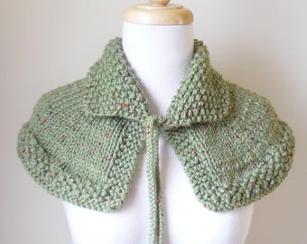 Knit Collar Cape Shoulder Wrap Mini Cape Highlands Capelet Shawlette In Sage Tweed Ready to Ship
