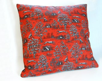 Greyhound, Whippet, IG, Sighthound handmade red, black, grey toile pillow cushion cover.