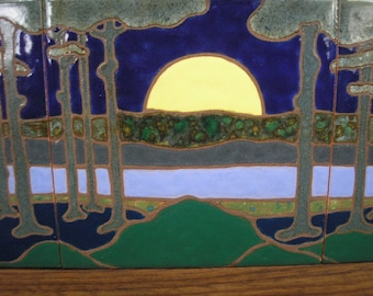 AVAILABLE NOW-  Moon River Framed Tile Trio,  arts and crafts, mission style, decorative tile