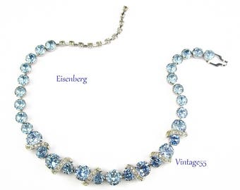 Eisenberg Blue Rhinestone Necklace