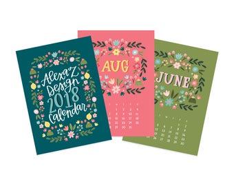 2018 Floral Desk Calendar - 5x7 Calendar - Wall Calendar - Gifts Under 25 - Illustrated Calendar