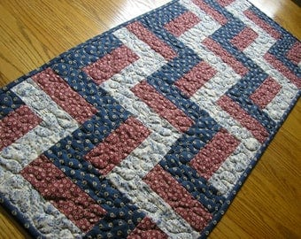 Quilted Table Runner, Railfence Blocks in Navy, Burgundy and Cream, 17  x 39  inches