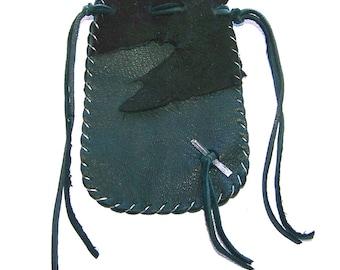 Leather Medicine Bag...GREEN