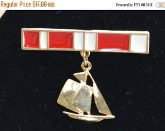 On sale Pretty Vintage Red, White Enamel Sailboat Bar Pin, Dangle, Nautical, Beach (O12)