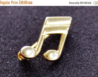 ON SALE Musical Note Pin, Gold tone, Vintage, Small (AC8)