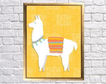 Llama Childrens Art Print, Colorful Llamas Nursery, Baby Nursery Decor, Llama Nursery Art, Mustard Turquoise, Pink Llama, Lilys Nursery Shop
