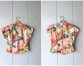 90s Floral Crop Top Pink Green Cotton Blouse Cap Sleeve Cropped Top Minimal Preppy Flower Print Top Fitted Waist Summer Tee Womens XS Small