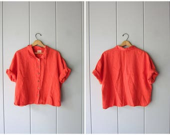 90s Orange Linen Blouse Cropped Button Up Linen Top Minimal Modern Boxy Tee Slouchy Loose Fit Linen TShirt Vintage Womens Large