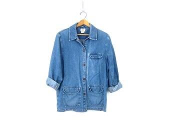 Vintage Blue Jean Jacket Blazer Denim Barn Coat Long Layering Spring Jacket Casual Chic Suit Coat Street Style Women Size Medium