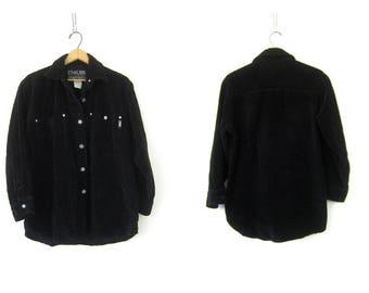 Vintage Black Corduroy Shirt Jacket Button Up Coat Plain Normcore Casual Jacket with Pockets Unisex Size Small Medium Large
