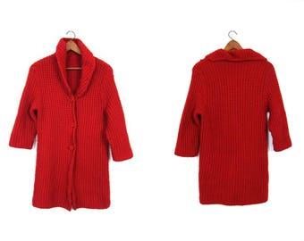 Vintage Red Cardigan Sweater Handmade THICK KNIT Sweater Coat Long Cardigan Hand Woven Bulky Chunky Granny Cardigan Sweater Womens Medium