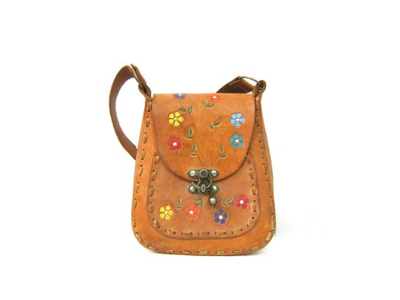 1960s Tooled Leather Purse Painted Flowers Brown Floral purse boho hippie Bag 60s Southwestern Leather Shoulder Bag
