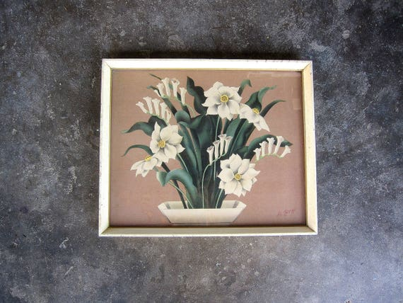 Art Deco Picture De Jonge Floral Wall Art 1940s Cottage Chic Vintage Art Mid Century wall hanging 14 x 17 Framed with Glass