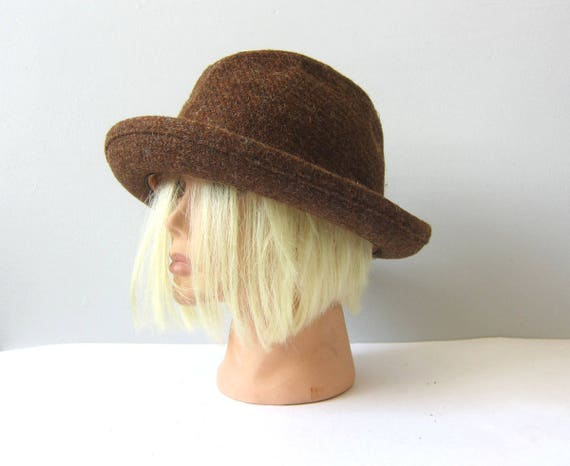 Vintage 60s Wool Fedora Hat Brown Resistol 1960s Hipster Mad Men Driving Cap Wool Fall Pinched Top Fuzzy Hat GS Hat 7 1/8 Small Medium