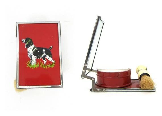 Vintage Men's Shaving Kit with Folding Mirror Brush & Shaving Cream Bowl Men's Metal Travel Case Red Hunting Dog Man Gift