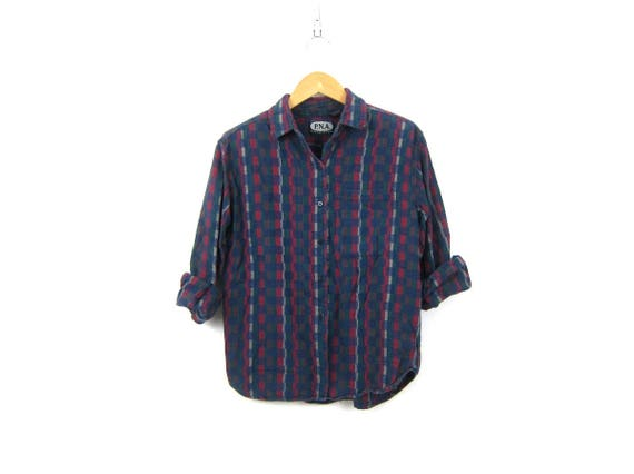 Soft Dark Cotton Shirt Long Sleeve Green Red Purple Blue Top Button Up Collar Pocket Shirt Basic Blouse Womens Size Medium
